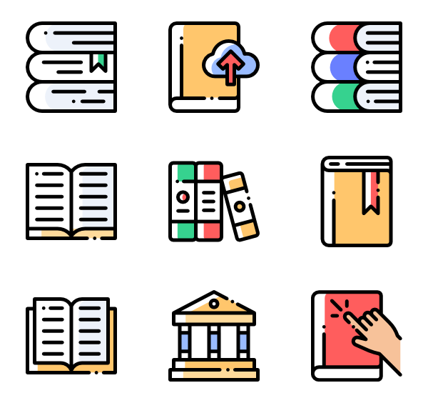 Reading vector resource. Library icons free book