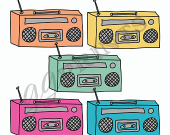 Boombox clipart. Etsy music planner vintage