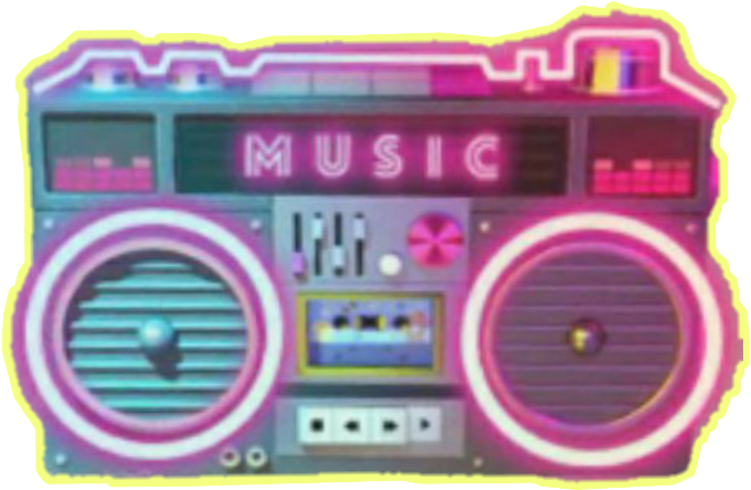Transparent neon retro. Download hd music musicbox
