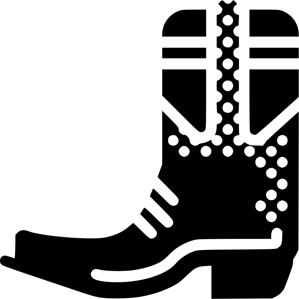 Boots svg black and white. Cowboy boot png icon
