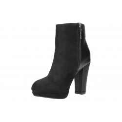 Booty transparent heel. Heeled black ankle boot