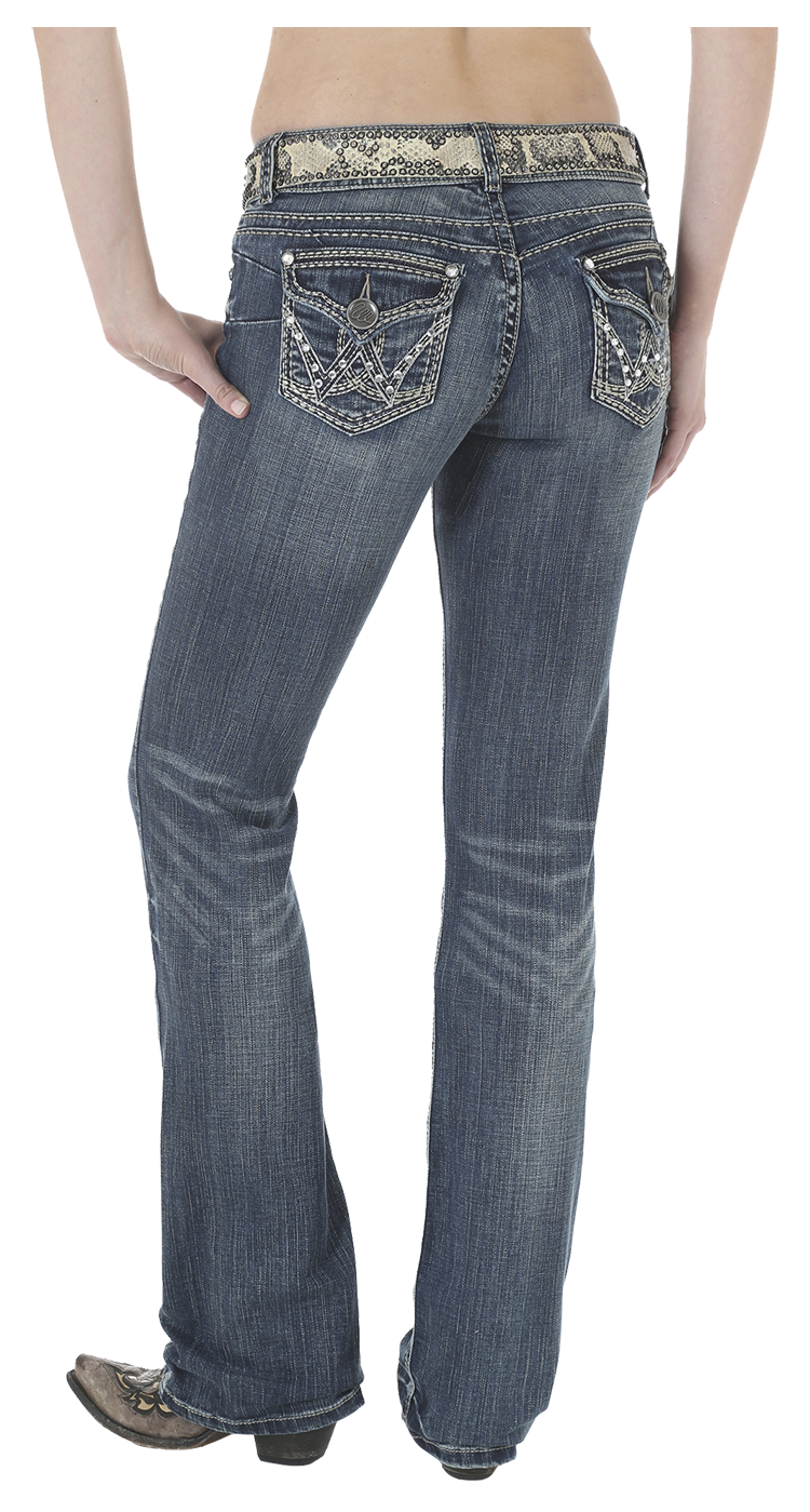 Booty transparent jeans. Wrangler premium patch with