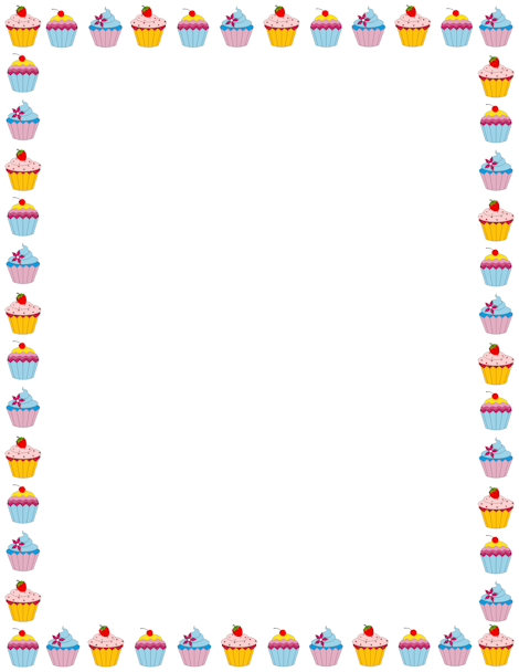 Border clipart cake. Cupcake page free downloads