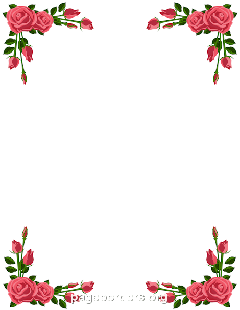 Border clipart pink rose. Clip art page and
