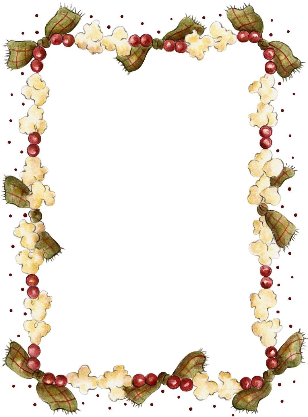 Border clipart popcorn. Printable christmas recipe page