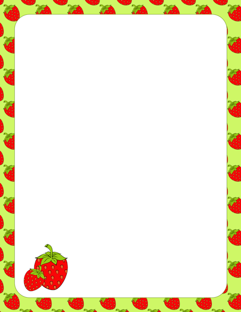 Strawberry border clip art with a green background