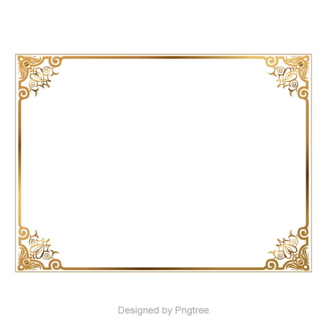 Frame vector png. Golden border boundary picture