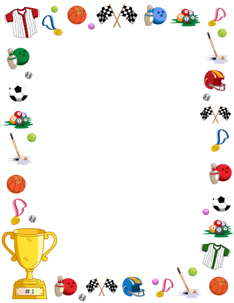Borders clipart sport. Page border featuring sports