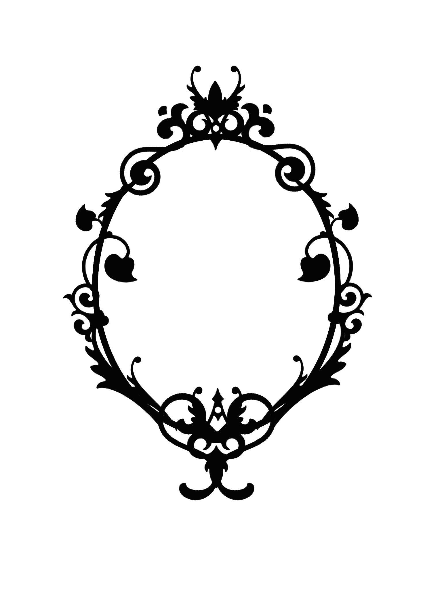 Borders drawing silhouette. Ornate oval frame cutout