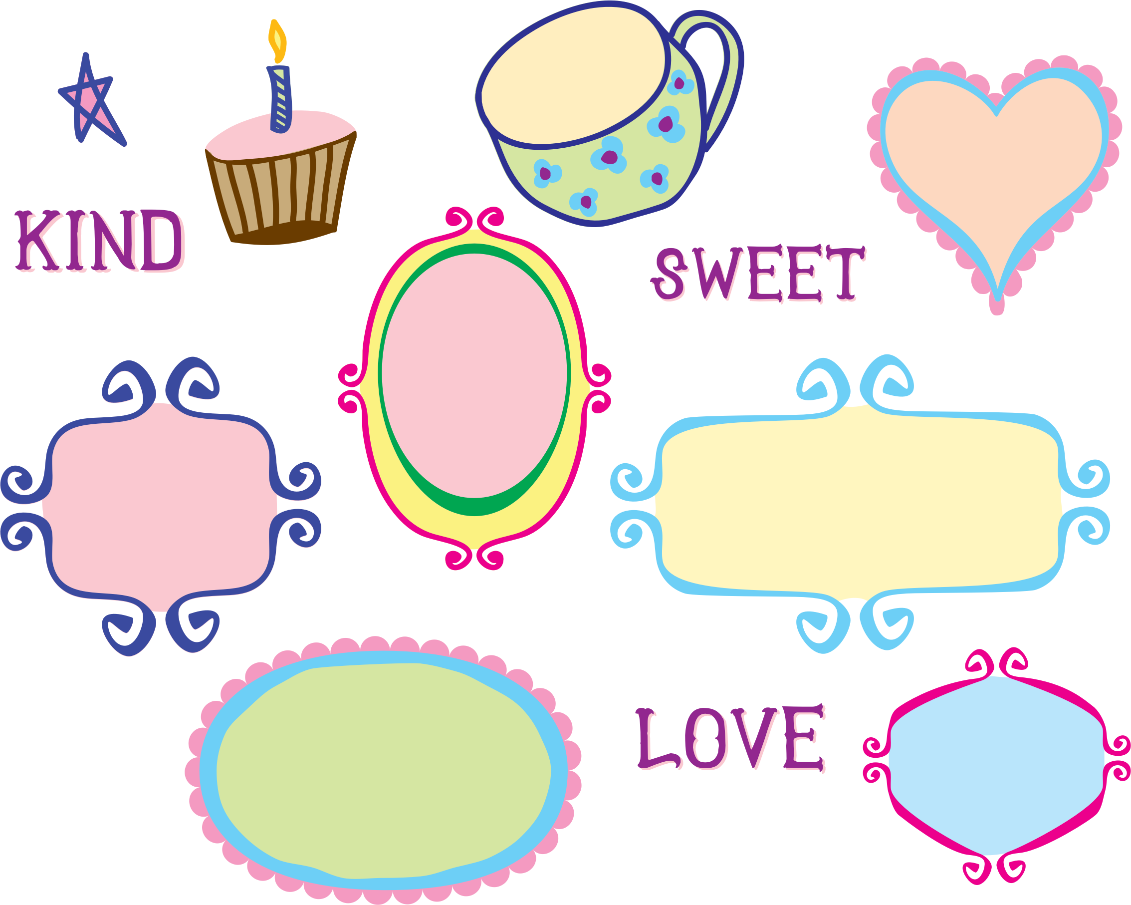 Doodle frames png. Kitschy frame borders icons