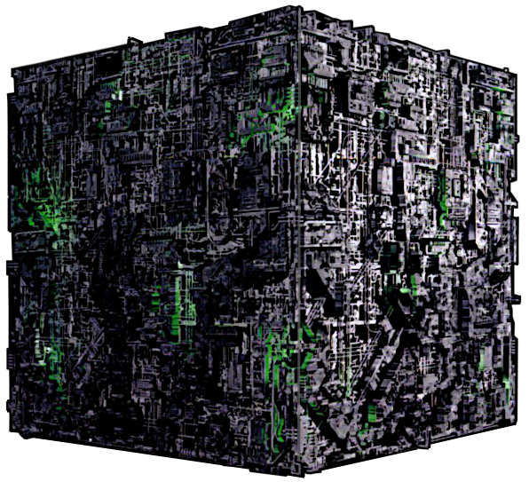 Borg cube png top down. Black six red seven