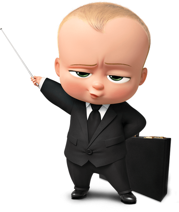 Boss vector wallpaper. Image baby with briefcase