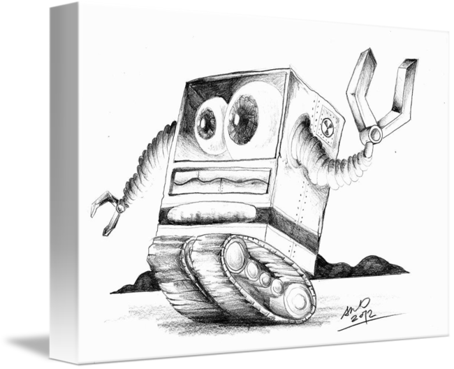Boss drawing pencil. Robot in by shine