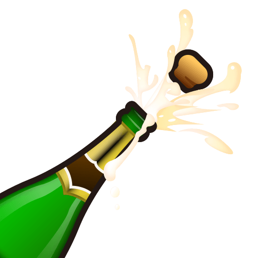 Bottle emoji png. With popping cork for