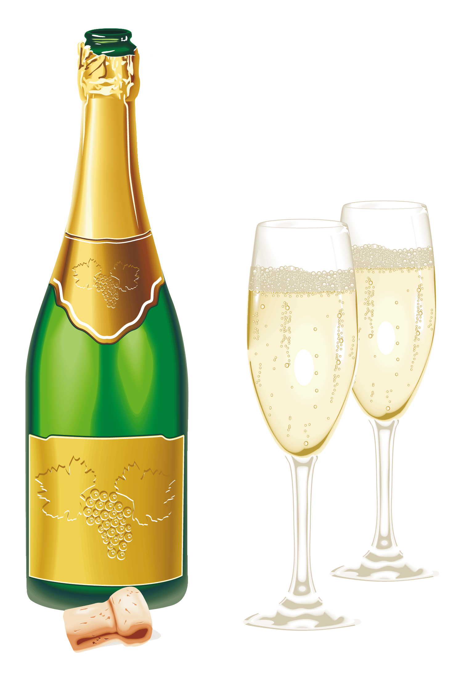 Bottle of champagne png. New year open with