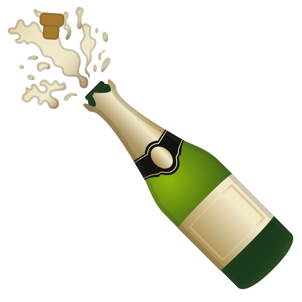 Bottle popping png. With cork icon noto
