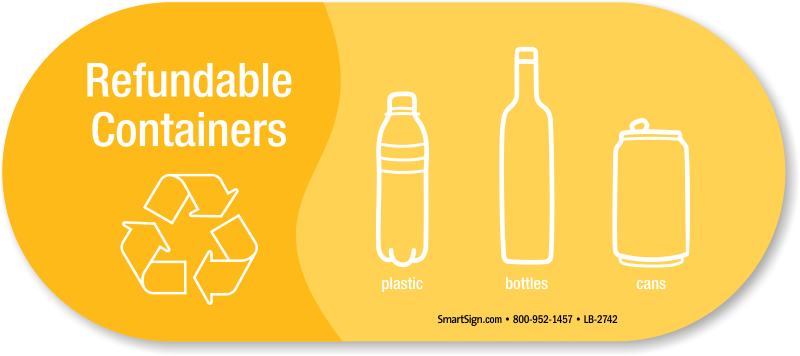 Bottle sticker png. Refundable containers plastic bottles