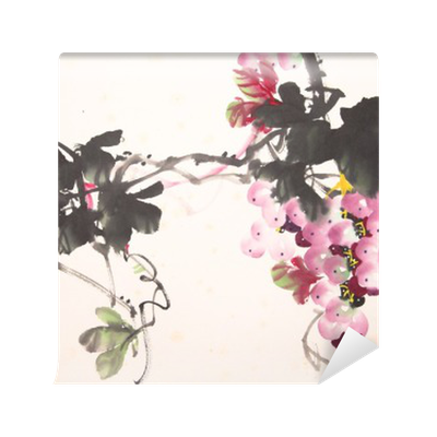 Bougainvillea drawing part. Chinese ink grape wall