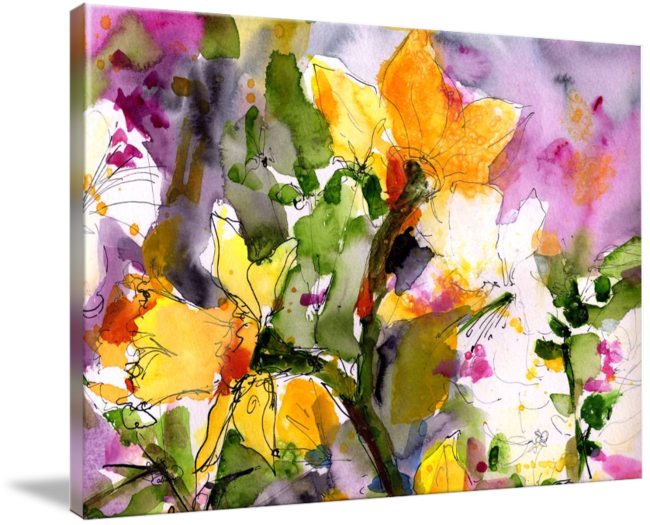 Bougainvillea drawing watercolor. Abstract spring symphony wide