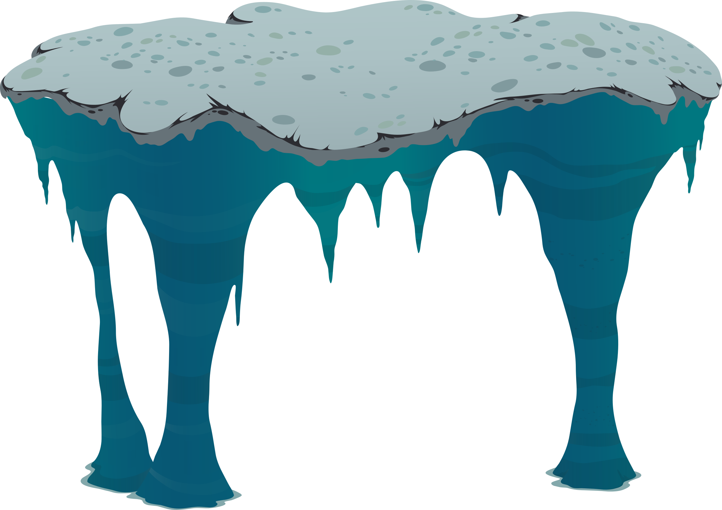 Vector icicles ice cave. Ilmenskie big platform by svg free stock