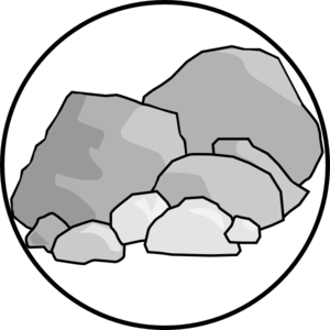 Boulder drawing broken rock. Collection of free hardock