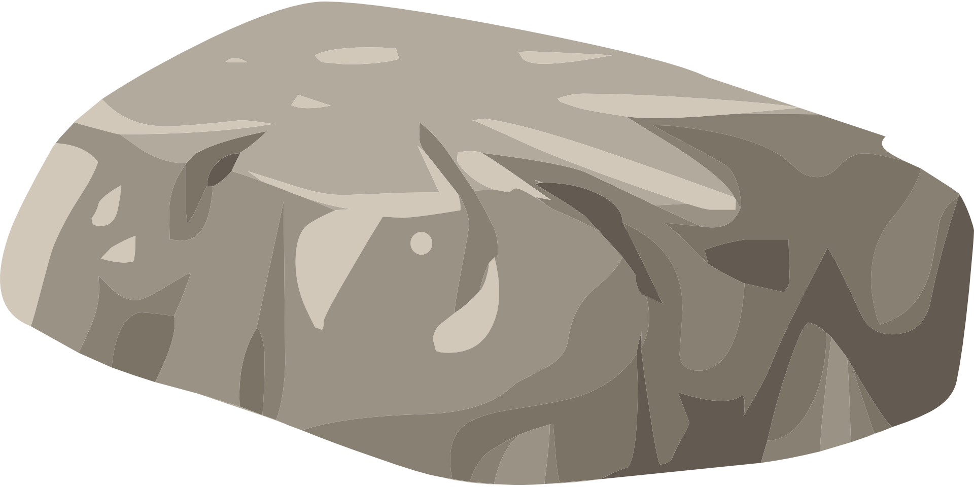 Boulder drawing landscape. Graphic of a free