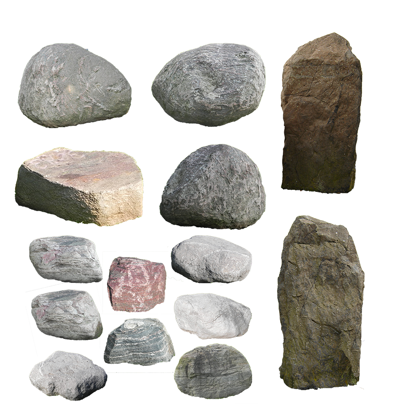 Boulder drawing stone rock. Wall stones material transprent