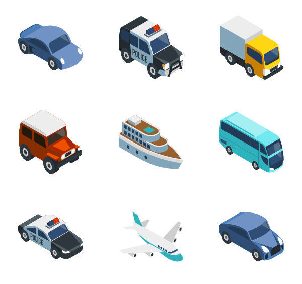 Boulder vector isometric. Icons free transportation business