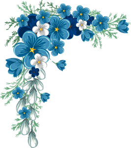 blue flower frame png