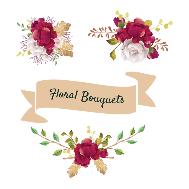 Flores png vector. Flower bouquets floral and