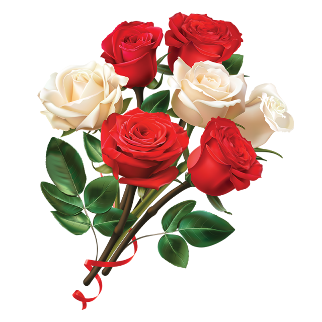 Bouquet of white roses png. Women day red and