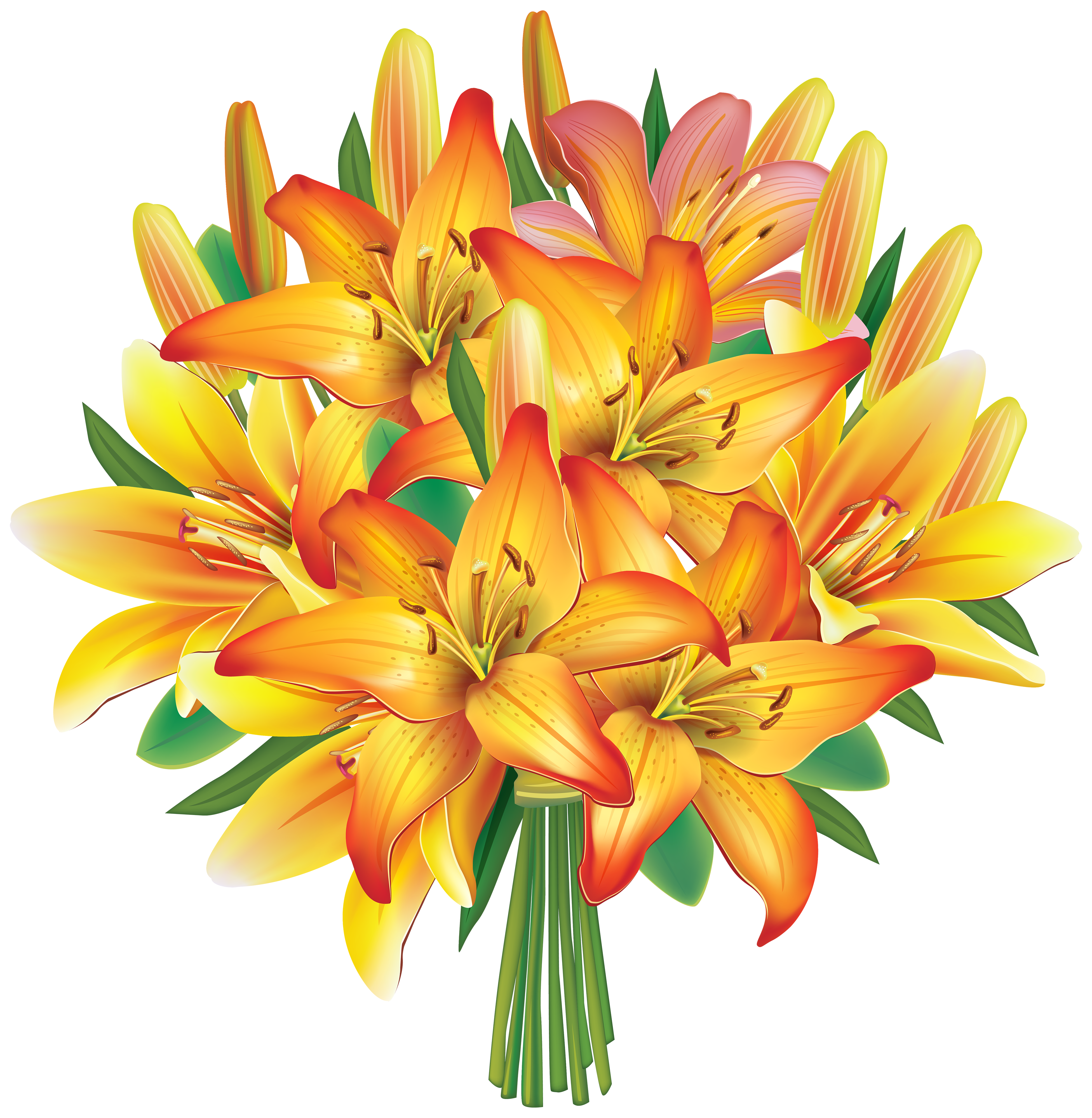 Bouquet of yellow roses png. Lilies flowers clipart image