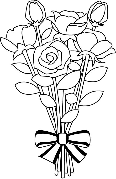 Bouquet vector black and white. Collection of flower