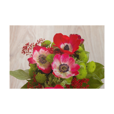 Bouquet vector anemone. Of red flowers close