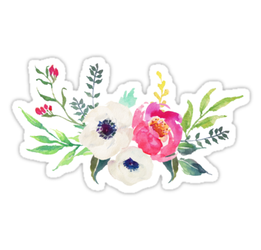 Bouquet vector anemone. Peony watercolor sticker by