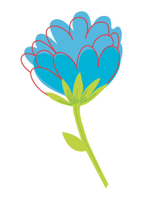 One vector flower. Free blue clip download