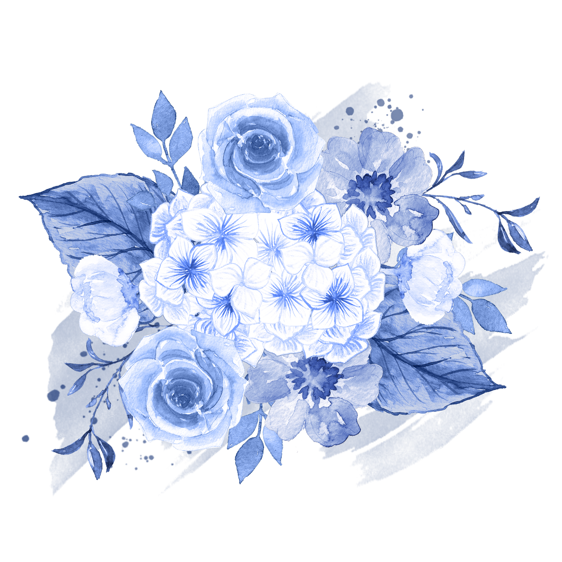 Bouquet vector blue flower. Wedding invitation watercolor painting