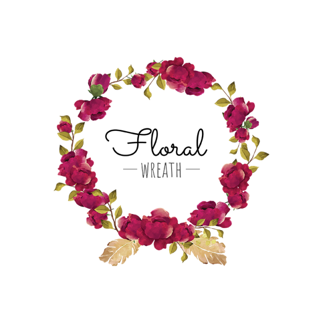 Bouquet vector burgundy rose. Flower wreath red blooming