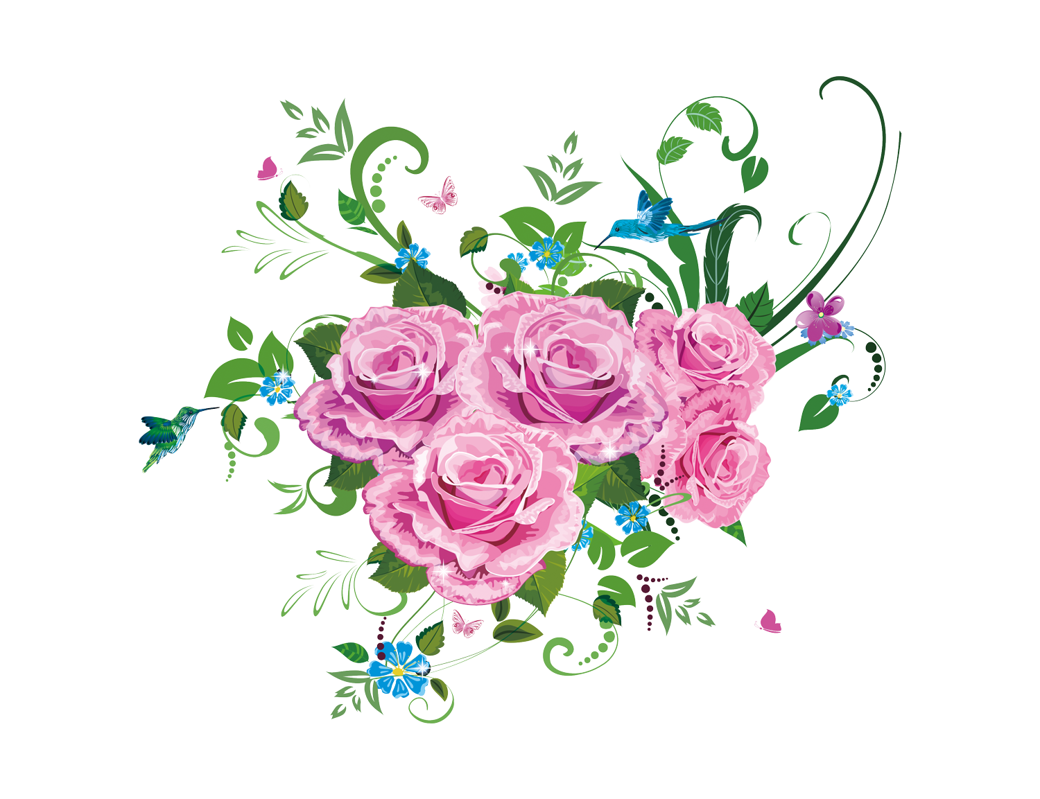 Bouquet vector draw flower. Drawing beautiful of delicate