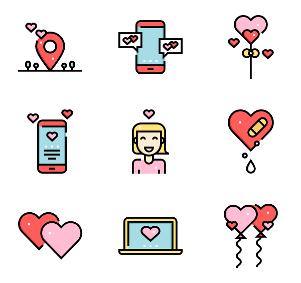 Bouquet vector flat. Icons free valentines day