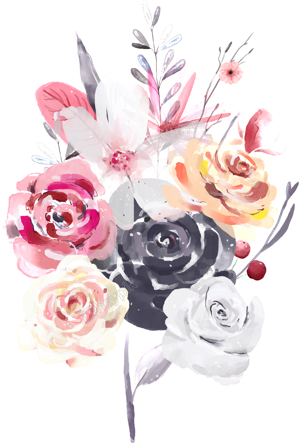 Bouquet vector hand. Painted a bunch of