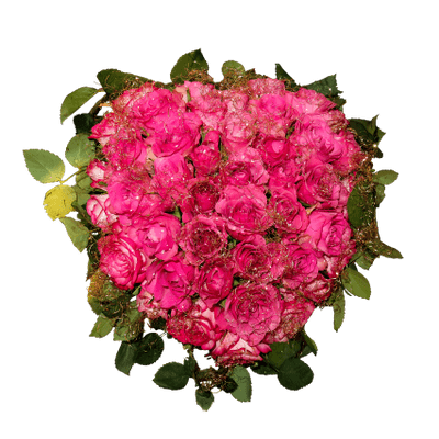 Bouquet vector lisianthus. Pink roses heart shaped
