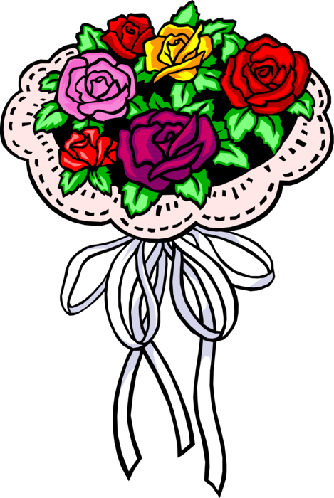 Bouquet vector rose illustration. Floral image of flowers