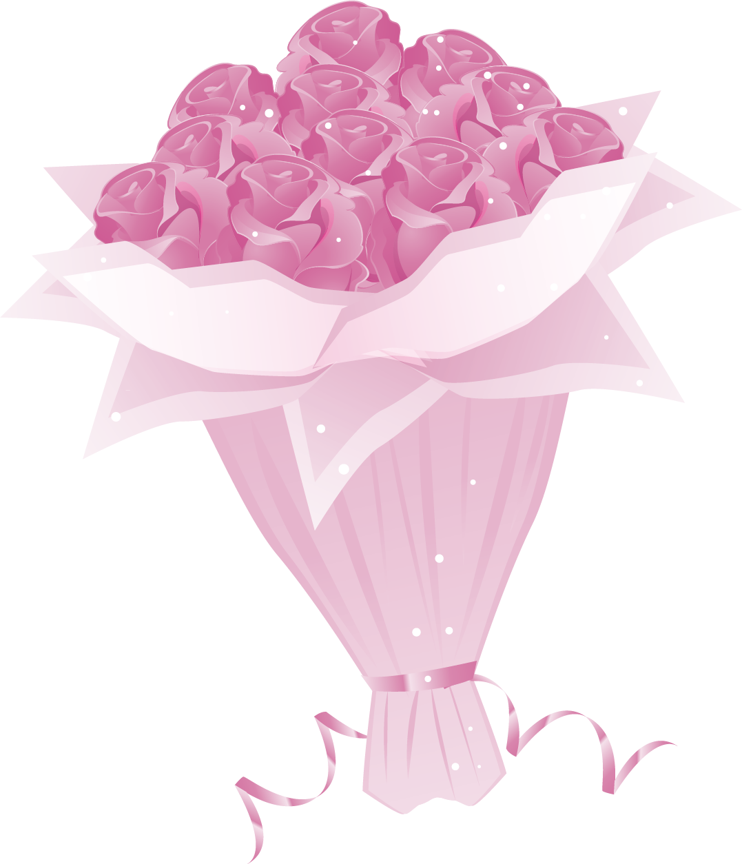 Bouquet vector rose illustration. Euclidean beach pink roses