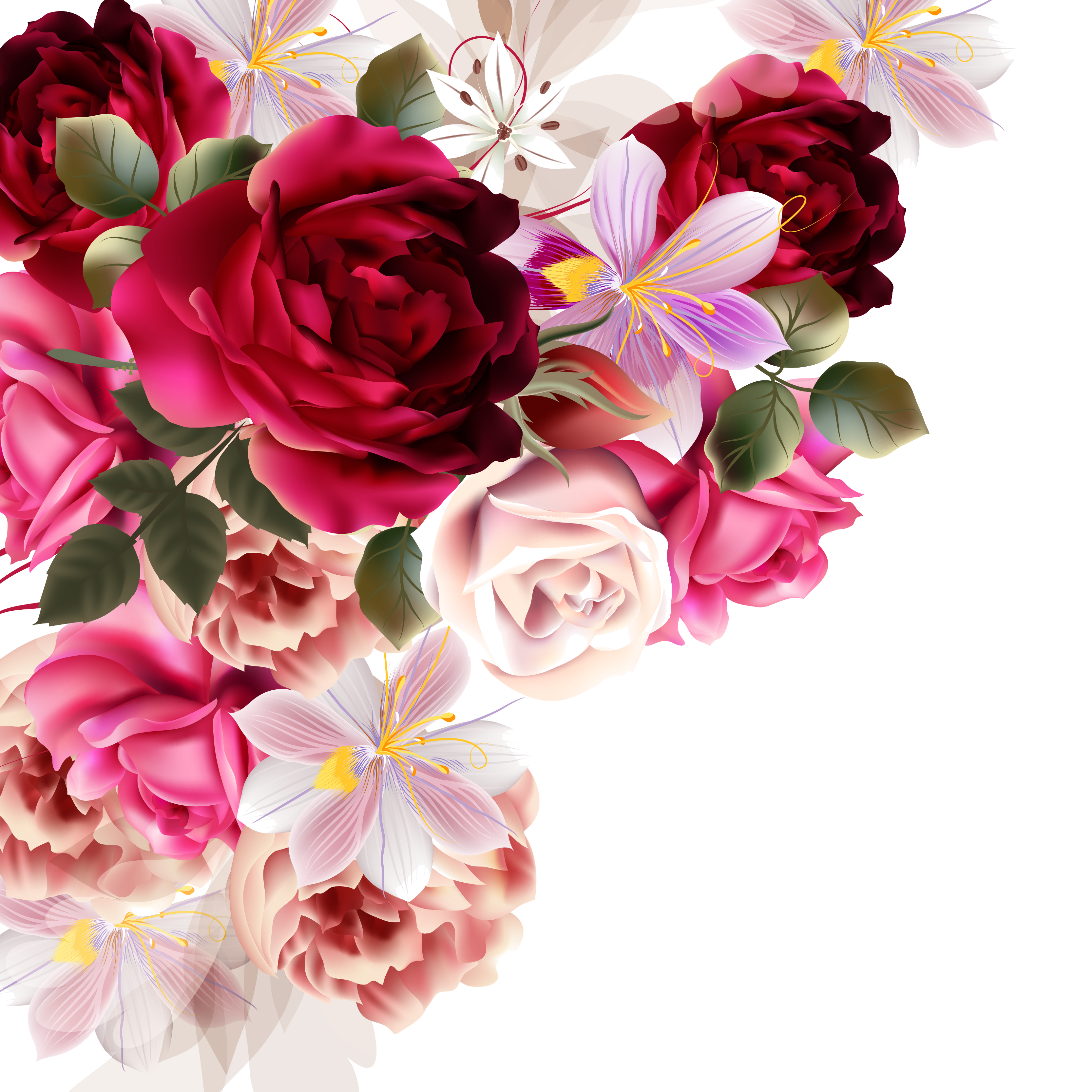 Drawing spring bunch flower. Bouquet of roses at