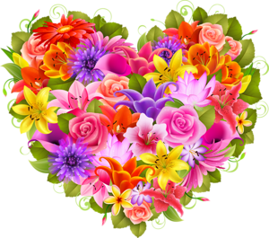 Bouquet vector valentine flower. Heart of beautiful flowers