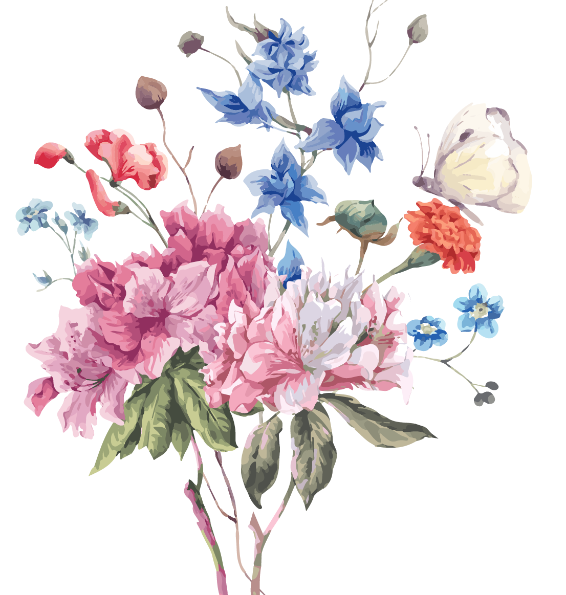 Vector bouquet spring. Flower stock photography illustration