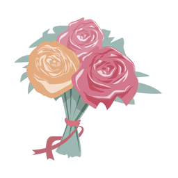 Bouquet vector flat. Wedding couple kissing silhouette