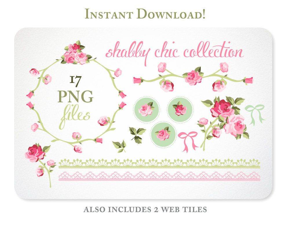 Bow clipart shabby chic. Roses digital for scrapbooking