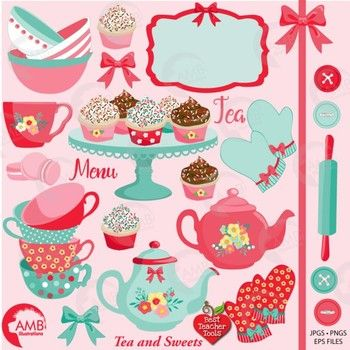 Bow clipart shabby chic. Tea time party amb
